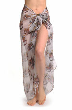 Skulls With Flowers On White Unisex Scarf and Beach Sarong (SF000954)