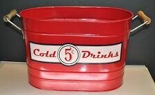 """New listing Nice- Excellent Condition Vintage Retro """"Cold Drinks 5 Cents"""" Metal Ice Bucket"""