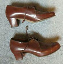 Vintage Womens Brown Shoe 1940s Skuffies Foot Saver Oxford Pump Sz.7 1/2 Aa(?)