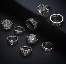 9Pcs Punk Vintage Women Knuckle Rings Tribal Ethnic Hippie Stone Joint Ring Set