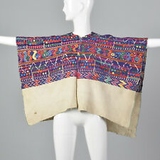 1930s Huipil Poncho Purple Hand Loomed Cotton Bohemian Serape Cape Top VTG 30s