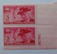 US SCOTT 985-1949-1950 3 CENT G.A.R.RED-PLATE STRIP OF 2-MINT/NH/ORIGINAL GUM