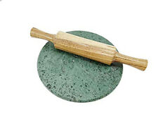 Art Craft Handmade Durable Rolling Pin & Marble Green Rolling Board for Kitchen