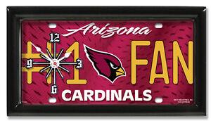 Arizona Cardinals NFL # 1 Fan Quartz  License Plate Clock