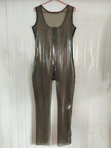 Latex Catsuit Gummi Clubwear Transparent Schwarz Fitnesskleidung Bodys0.4mmS-XXL