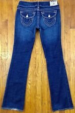 True Religion Becky Womens Boot Cut Dark Distressed Jeans Size 28 Actual W31 L33