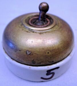 VINTAGE ELECTRIC SWITCHES CERAMIC BRASS 1 Pc BRITISH CRABTREE COLLECTIBLES # 5