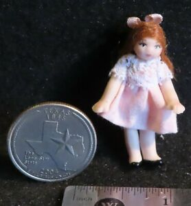 1:12 Doll's Doll Pink Dress Brown Hair White Toy Miniature #4876 Thomas