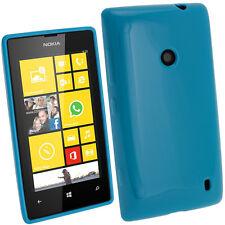 Blau glänzend TPU Gel Tasche für Nokia Lumia 520 Windows Hülle + Schutzfolie