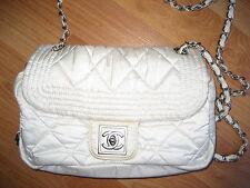 chanel nylon white bag shoulder cross body flap chain