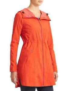 ATHLETA Overcloud Zip Front Nylon Hooded Jacket Size S Grenadine Red (Orange)