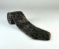 $275 NWT Ermenegildo Zegna Charcoal Silver Paisley Pattern 100% Silk Neck Tie
