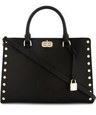 NWT Authentic Michael Kors Leather Sylvie Studded Large Satchel Bag ~Black