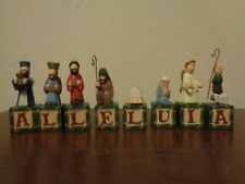 Midwest Of Cannon Falls Wood Wooded 16 Piece Nativity Alleluia Blocks Set