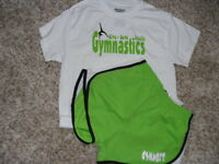 "Gymnast Lime green running shorts with"" Gymnastics live, love breathe"" t-shirt"