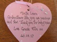 Personalised Godmother Godparents Christening  keepsake present gift handcrafted