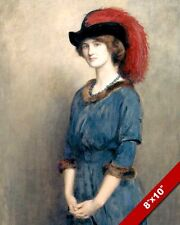 BEAUTIFUL YOUNG WOMAN IN BLUE DRESS HAT & RED FEATHER PAINTING ART CANVAS PRINT