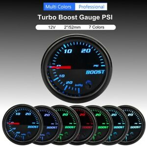 2'' 52mm Car 7 Color LED Turbo Boost 30Psi Pressure Vacuum Pointer Gauge