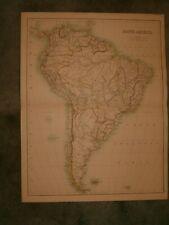 ANTIQUE MAP OF SOUTH AMERICA circa 1900