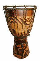 20/ 30 /40 cm Handcarved DJEMBE BONGO DRUM carved one piece wood ELEPHANT CARVNG