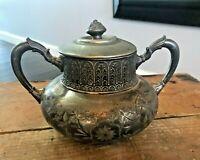 Antique 1940s James W Tufts Boston Warranted Quadruple Silver Plate Sugar Bowl