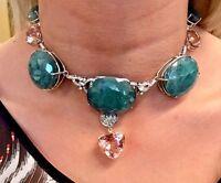 New Chistick Huge 425 ct Grandidierite, morganite, 3ct diamond Platinum necklace