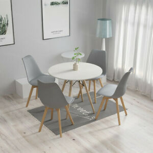 Round Dining Table and 4 Padded Chairs Set for Kitchen Furniture Grey/White