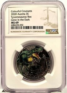 2020 Austria 3 Euro Tyrannosaurus Rex Dinosaur Glow-in-the-Dark Coin - NGC MS 69