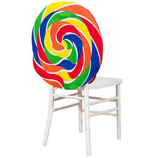 Swirl Lollipop Candy Chair Covers featuring a rainbow Candy Party