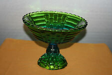 Floragold Green & Blue Glass Comport Jeannette Glass 1970s