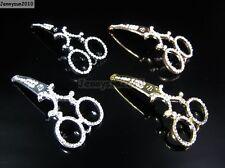 Curved Side Ways Crystal Rhinestones Scissors Bracelet Connector Charm Beads
