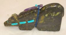 Signed Zuni Carved  Bear Fetish Turquoise and Amethyst