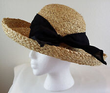 COTTON CONNECTION Ladies 100% Natural Straw Hat Black Bow Boho Retro Hippie VTG