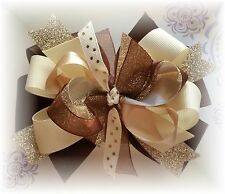 Ivory Brown Gold Glitter 5 to 5 1/2 inch Custom Made Boutique Hair bow