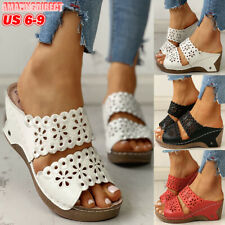 Womens Hollow Out Slip On Peep Toe Sandals Ladies High Wedge Heel Slipper Shoes