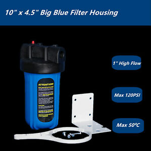 "10"" x 4.5"" Big Blue Whole House Tank Water Filter Housing Garden  1"" Port"