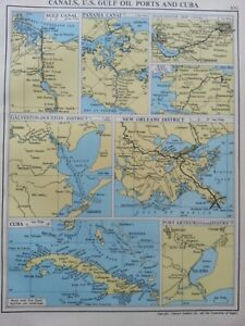 ANTIQUE MAP DATED 1951 SHIPPING MAP CANALS U.S GULF OIL PORTS CUBA SUEZ CANAL