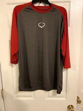 EvoShield Baseball 3/4 Shirts , Gray/Red, Men's Xl