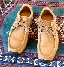 Wood Land Men's Tan Suede Lace Up Shoe With Black Grip Soles Size 9