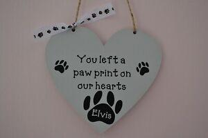 Personalised wooden MDF heart shaped memorial dog plaque keepsake