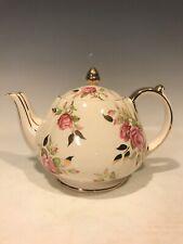 Vintage Sadler Teapot Cabbage Pink Rose Gold Leaves And Trim England