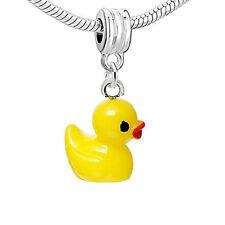 Resin Yellow Duck Dangle Charm Pendant For European Snake Chain Bracelet