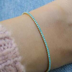 """Dainty Beauty Turquoise 14K Yellow Gold Over Tennis 7.25"""" Bracelet Gift For Her"""