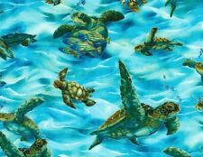 Fat Quarter Fabric Sea Turtle Tropical Fish Ocean Swimming Turtles Cotton Fq