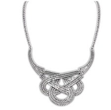 Large Chunky Silver Knot Statement Necklace