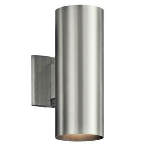 Independence 2-Light Brushed Aluminum Outdoor Wall Cylinder Light by KICHLER