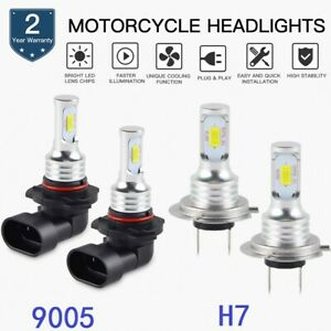 4pcs For BMW S1000R 2014-2018 Combo 9005 + H7 LED Headlight High Low White Bulbs