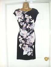 Wallis Floral Vestido Recto Negro Fruncido Verano Tamaño 14P