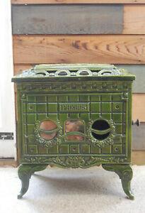 Antique French Green Enamel Phebus Woodburner Burner Stove