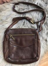 Designer FOSSIL Brown Leather Classic Crossbody Shoulder Handbag Purse